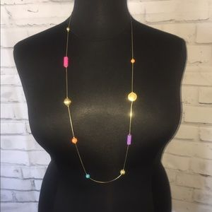 Multi color stone and bead necklace